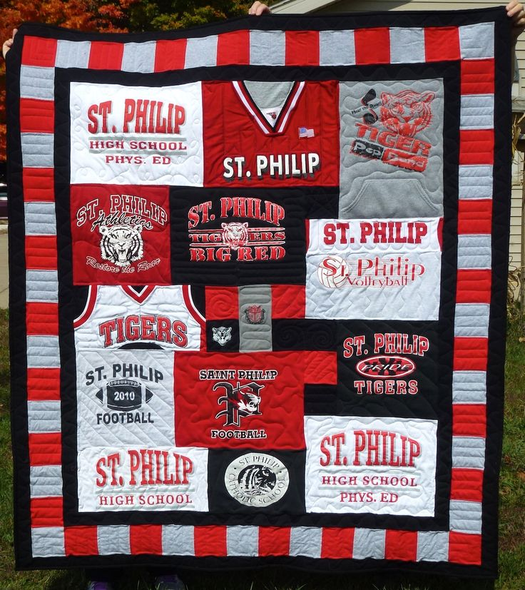 Preserve t-shirt memories by making them into a quilt. And if you can't quilt, you can pay her to do it for you!
