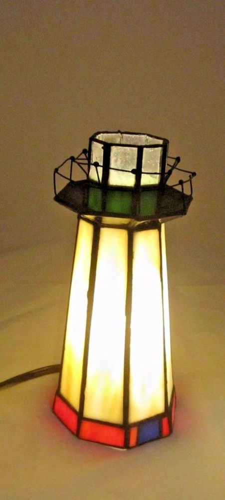 Tiffany Style Multi-Color Stained Glass Lighthouse Table Desk Lamp Night Light