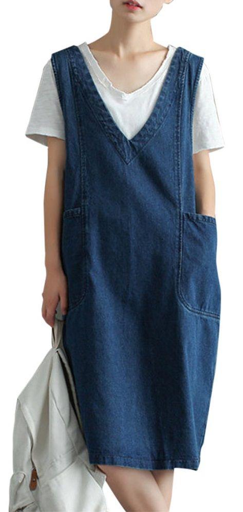 US$18.99 Vintage Knee Length Sleeveless Pockets Denim Dresses