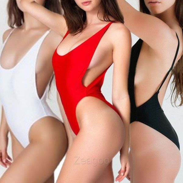 Sexy High Cut Cut-Out One-Piece Beachwear Swimsuit Swimwear New Black/White/Red Z_G = 1956622916