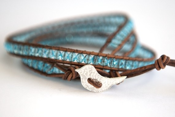 Leather and Bead Triple Wrap Bracelet in Light Blue with Handmade Fine Silver Bird Button