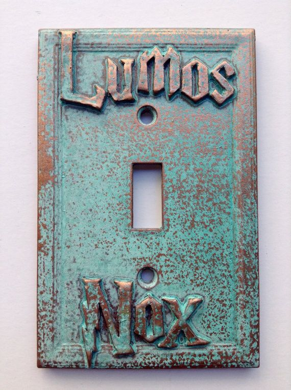 * Limited Edition - Not Sold In Stores * Custom hand made Lumos Nox Lightswitch Cover. Aged Copper in color and made of genuine Patina. Raised/Embossed design. Includes 2 Screws painted to match (6-32