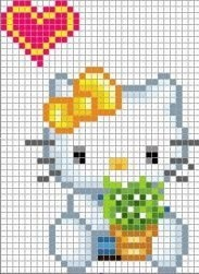 Free Hello Kitty Hama Perler Bead Pattern or Cross Stitch Chart