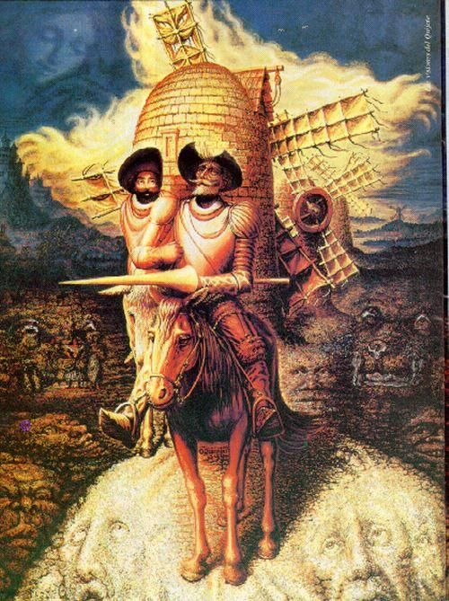 Face Illusions: Don Quijote | How many faces can you count on this Don Quijote painting by Octavio Ocampo?