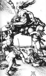 Grabado de Durero (1500). Una bruja monta una cabra mientras sostiene una rueca que usa. Hilar hace girar el destino de los hombres.