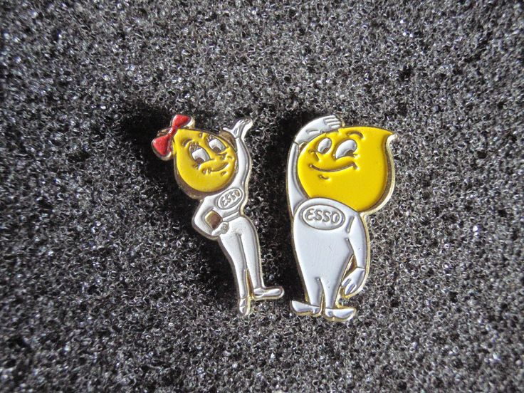 Job lot of 2 Esso oil drop flame man & woman cartoon vintage metal lapel pins