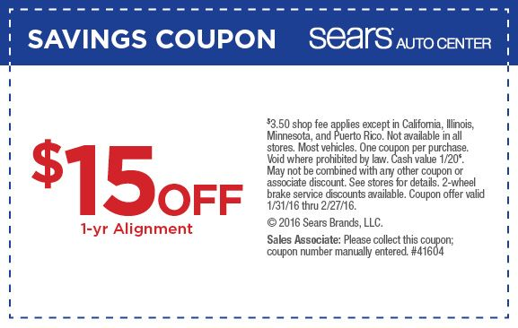 Sears Brake Service Coupons. When you take your car or truck to an automotive care center for brake service, a skilled technician can inspect the condition of the brakes. For example, it may become necessary to replace brake pads, calipers, brake rotors or the springs that retract brake shoes%(10).