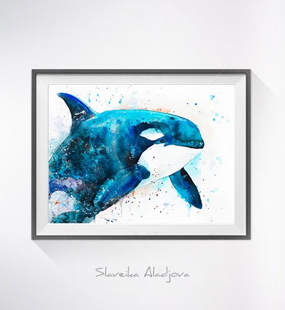 Orca watercolor painting print sea animalsea by SlaviART on Etsy