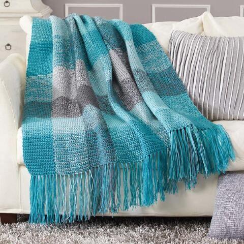 Herrschners® Stormy Skies Plaid Blanket Crochet Afghan Kit Was: $49.99 Now: $34.99