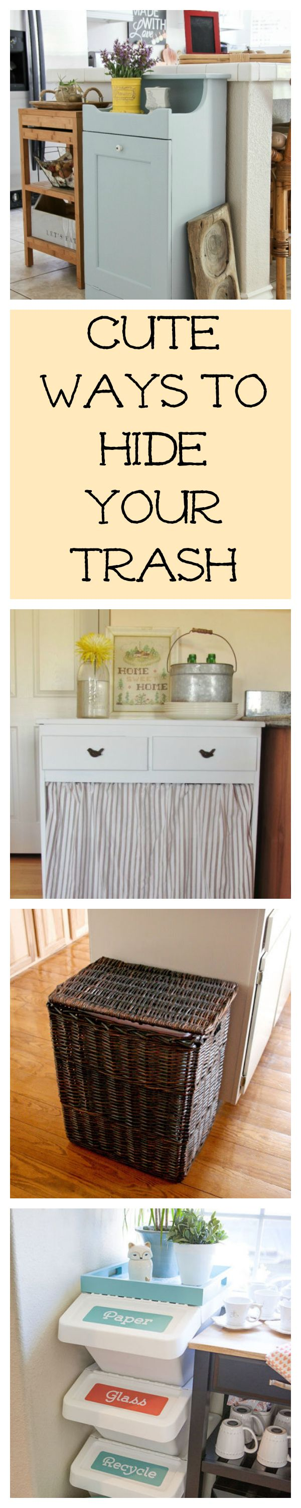 Hidden Kitchen Trash Cans #kitchenhacks