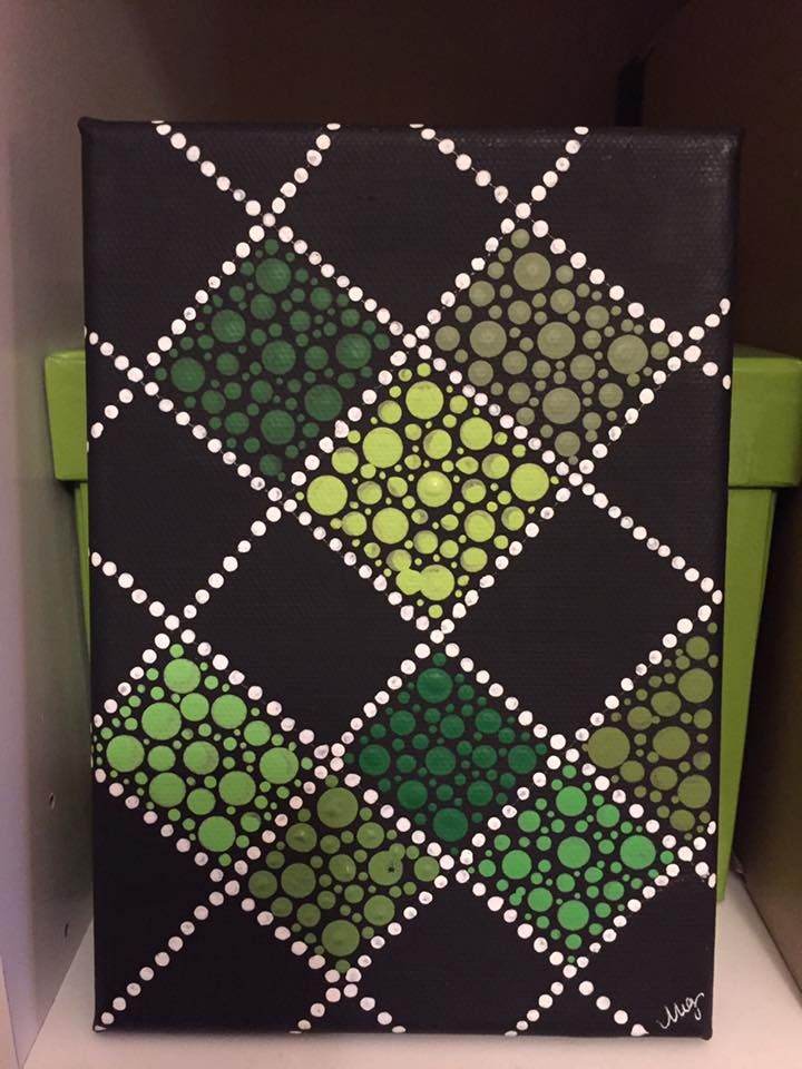 Green dot checker painting