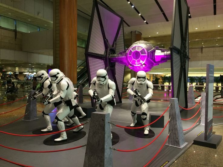 Tie fighter and storm troopers at Singapore airport