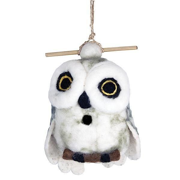 Felt Birdhouse - Snowy Owl Handmade and Fair Trade