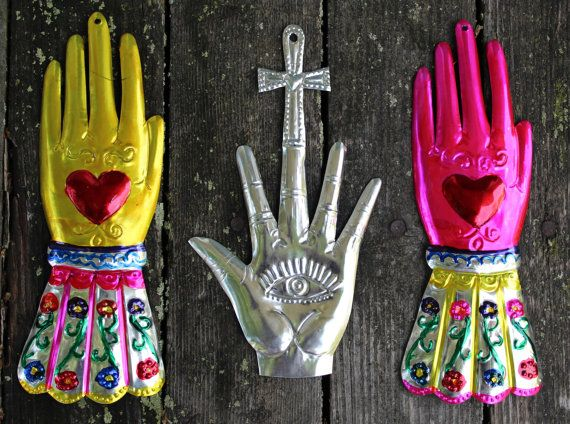 Lovely Mexican hand painted Tin Milagros  Gloved von OaxacanArts, $7.50