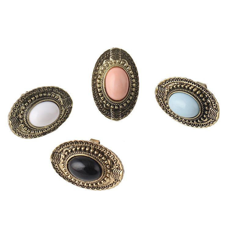 Minimum Order is $10 Free Shipping Cheap Ring Wholesale Vintge Oval Gem Ring Finger Ring Fahion Jewelry (Pink)  #R2 R3 R4 R5