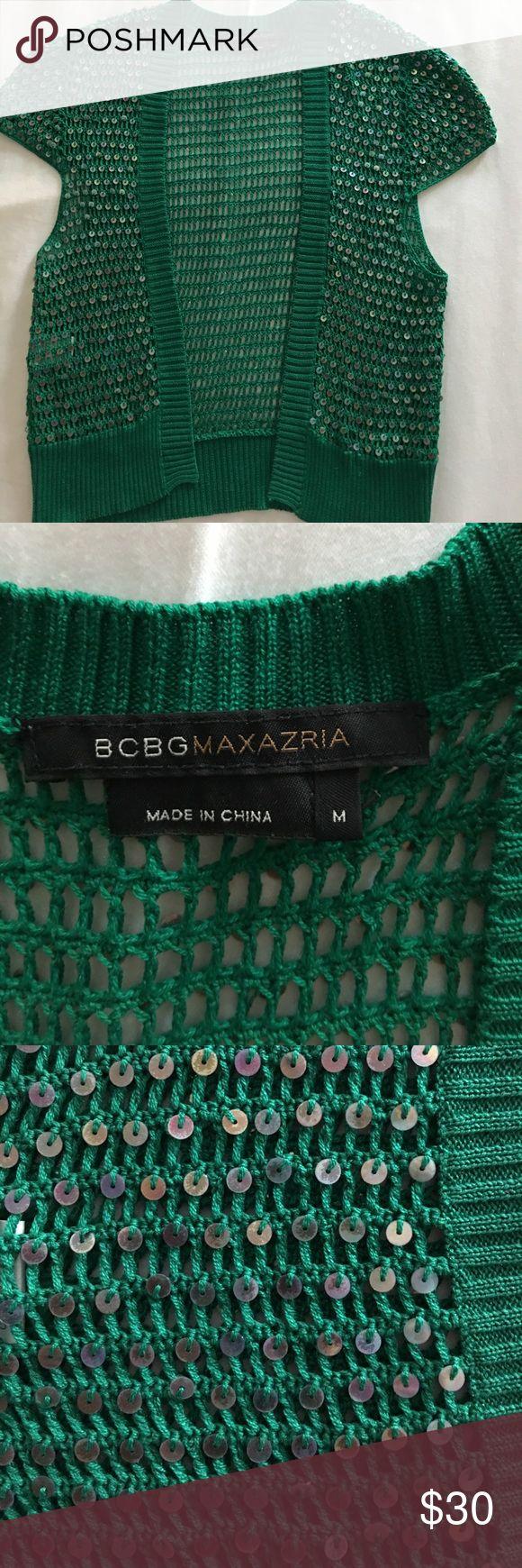 Green bolero shrug 100% silk, knit bolero jacket. BCBGMaxAzria Jackets & Coats