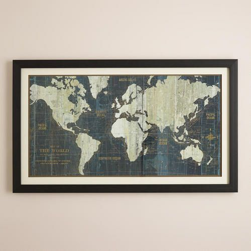 NEXT TO BOOK CASE, WHERE ARMOIR IS:  One of my favorite discoveries at WorldMarket.com: Blue Old World Map