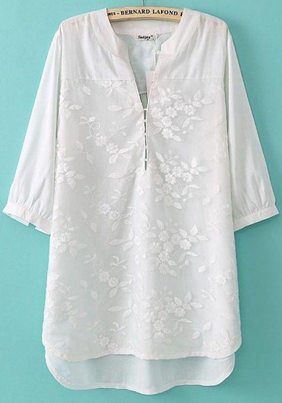 White Plain Embroidery Half Sleeve Loose Blouse
