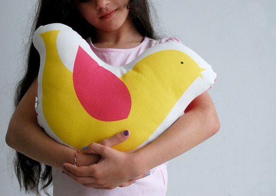 Bird plushy Yellow bird stuffed toy Decorative cushion