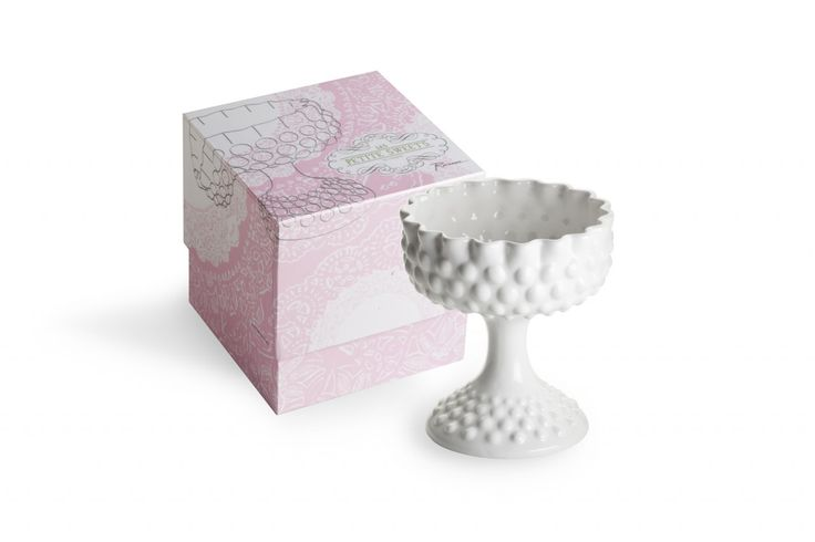 ROSANNA ROUND HOBNAIL LES PETITE SWEETS COMPOTE If sweets are your passion, then likely you love to present these delicious offerings in lovely serveware that delights the eye and tempts the palate. Display and serve from the Rosanna Les Petite Sweets Small Round Pedestal Bowl that highlights your sugared delights in vintage style. The flat footed compote bowl is an antique pressed milk glass shape & design made of versatile white porcelain. Perfect for candy buffets & lolly tables