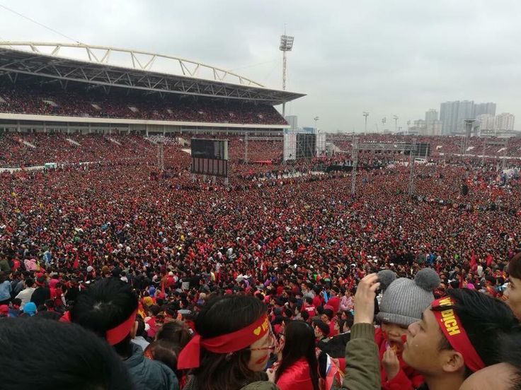 Vietnamese people gathering at National Stadium to watch the Final Match of AFC U23 between Vietnam vs Uzbekistan (Approximate 70.000 people)