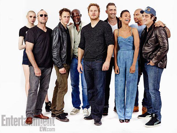 (Left to right) Karen Gillian, Michael Rooker, director James Gunn, Djimon Hounsou, Chris Pratt, Lee Pace, Zoe Saldana, Dave Bautisa, Benicio Del Toro, Guardians of the Galaxy