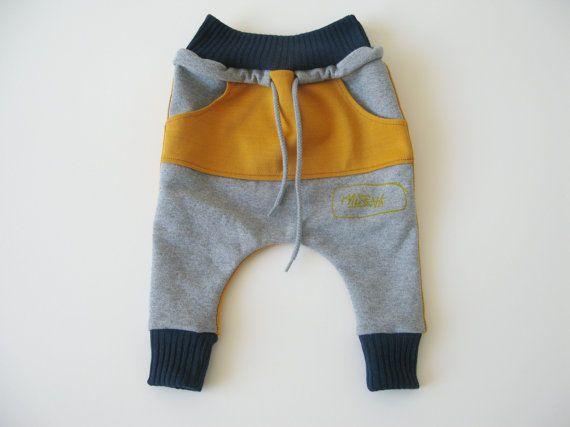 Unisex kids Harem Pants with Kangaroo Pocket Dropped door Muzeak, $39.00