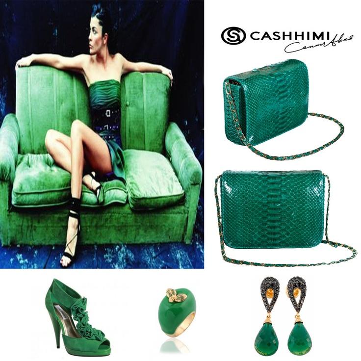 Cashhimi Green DOWNING Python Clutch