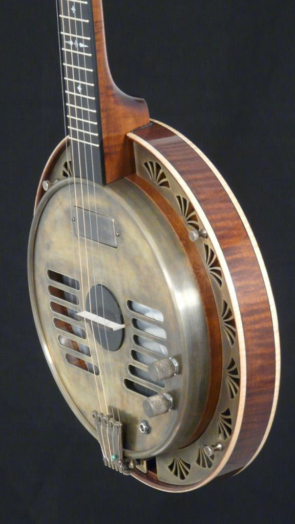 The Rayco Resophonic Banjo is a joint project between Rayco and Rickard Banjos. The design utilizes a biscuit bridge cone and has a beautiful haunting tone.