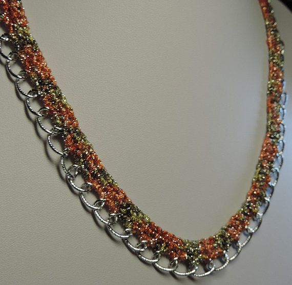 Necklace crochet metallic thread and metal chain by alcpcreations