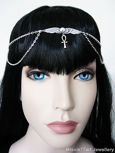 Sun disc Egyptian cobra ankh circlet headpiece in silver. Available from Missie77art Jewellery ebay.