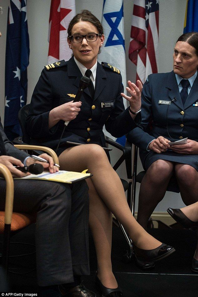 Transgender Major Alexandra Larsson of the Swedish Armed Forces speaks at the conference