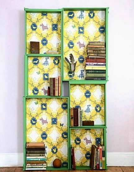 Bookshelf made out of recycled dresser drawers. Love it!