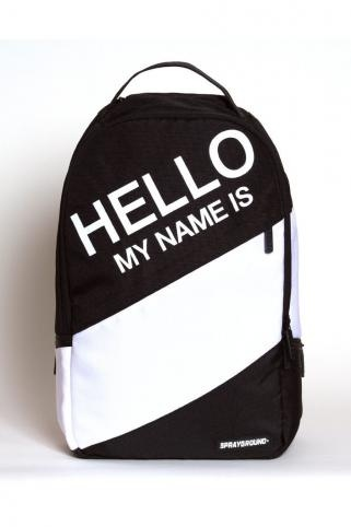 Hello Backpack, spray paint stencil name on. Dope.