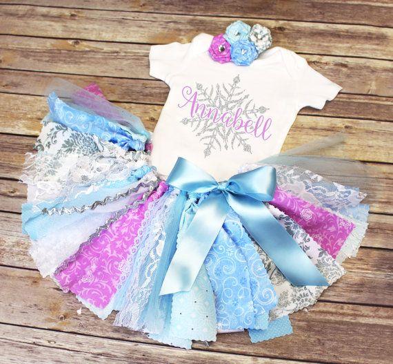 Ice Queen Ice Princess Fabric Tutu Bodysuit/Tee & Headband // First Birthday Frozen Winter Wonderland Theme // by FlyAwayJo // Buy it now!