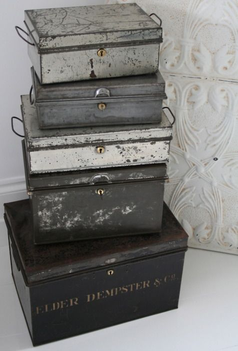Absolutely ADORE vintage boxes of any kind - and this monochromatic stack is both practical and packs a punch as home decor in an otherwise all-white scheme.