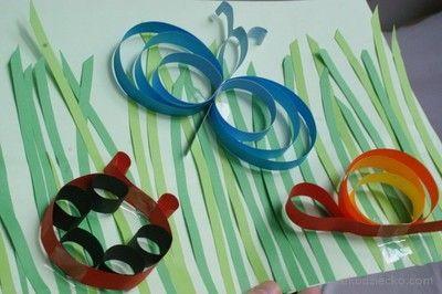 Mieszkańcy łąki praca plastyczna z pasków papieru. Residents meadows artwork, with strips of paper.
