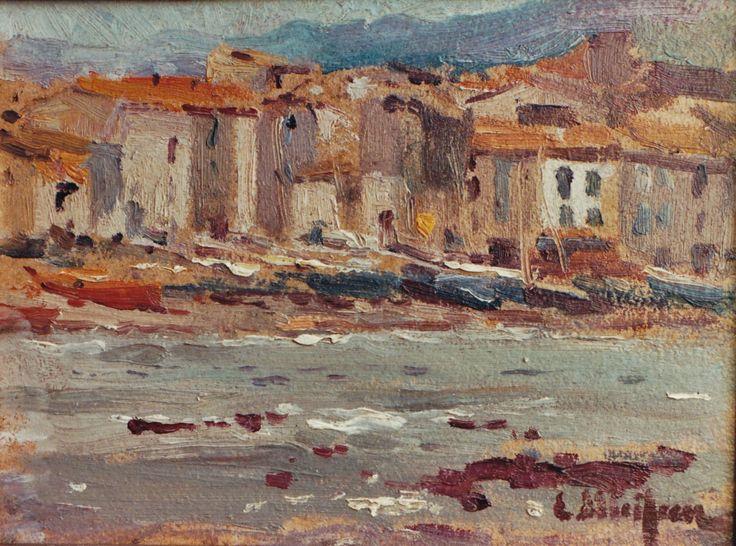 Eliseo Meifrén Roig. Platja gran, Cadaqués, Girona. Óleo sobre cartón. Firmado. 16 x 22 cm. Ausa, 352.
