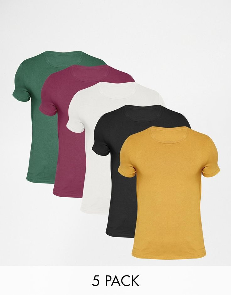 Muskelshirt T-Shirt im Set von ASOS elastischer Jersey Rundhalsausschnitt eng geschnittene Ärmel sitzt eng am Körper enge Passform Maschinenwäsche 94% Baumwolle, 6% Elastan Model trägt Größe M und ist 188 cm/6 Fuß 2 Zoll groß Fünferset
