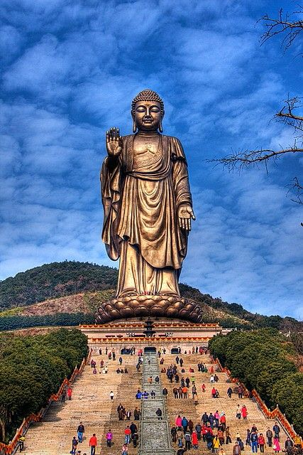 A giant Buddha statue on the Soul Mountain in the ancient city Wuxi (near Suzhou and Shanghai) in Jiangsu Province