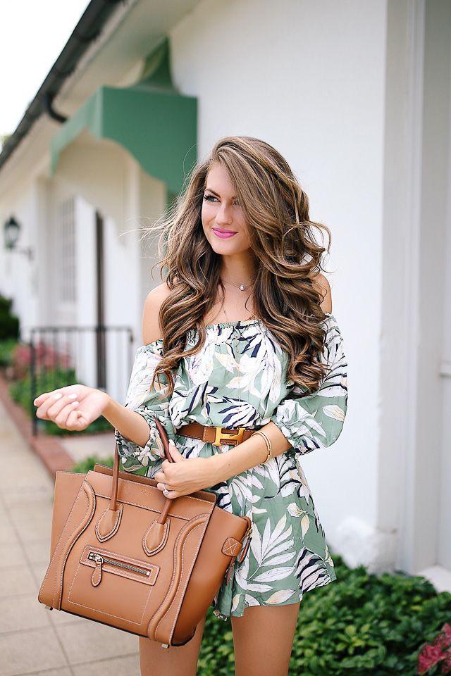 Southern Curls & Pearls: Palm Print Romper