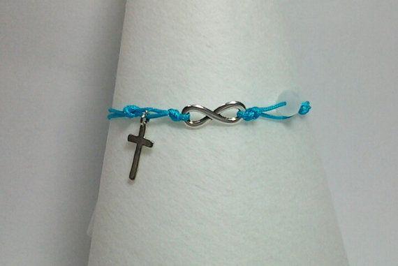 Infinity bracelet blue cotton cord infinity bracelet  by betsyarts, €5.00