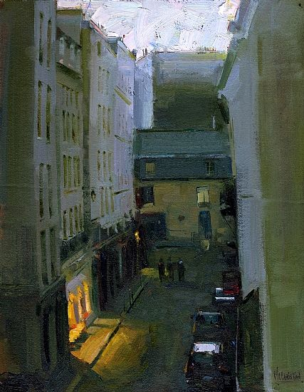 Jennifer McChristian (Canadian, 1986-) > ... Le Marais Twilight - Paris Oil on Panel 14 x 11 $1,500.00 USD Sold