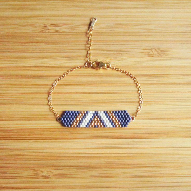 Bracelet perles Miyuki Bleu marine et or en plaqué or gold filled 14 carats : Bracelet par ccedille-bijoux