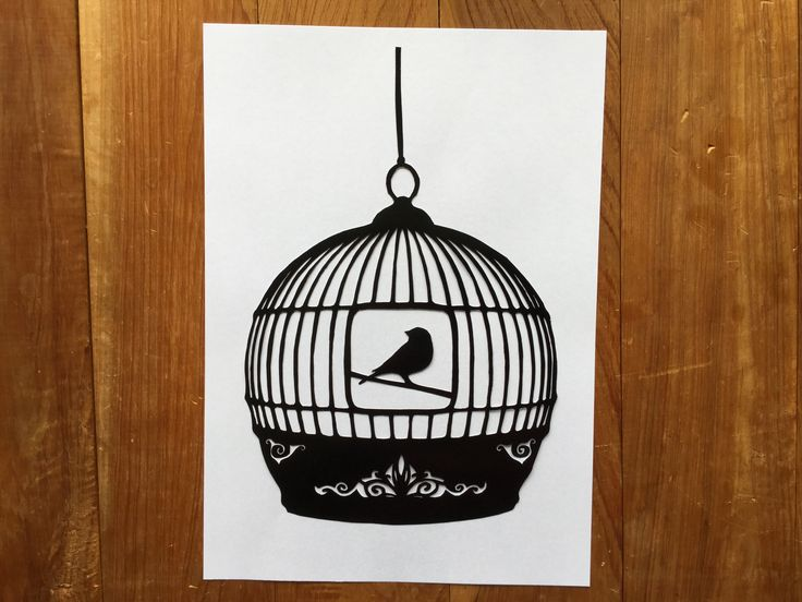 Bird in a cage paper cutting