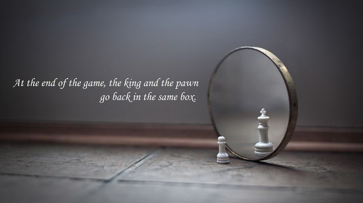 At the end of the game, the king and the pawn go back in the same box. thedailyquotes.com
