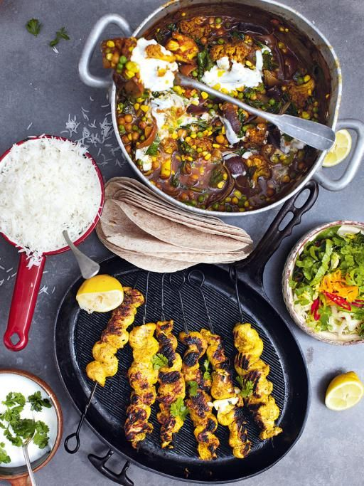 Roasted veg vindaloo with golden gnarly chicken skewers | With this recipe, you're creating a wonderful standout vegetable curry but then adding a meat kicker for any non- veggies at the table. It's a great one for a mixed dinner party – everyone's happy. Jamie Oliver