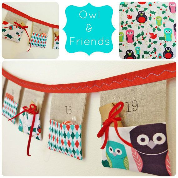 Advent calendar bunting Owl & friends 24 linen by SewSweetViolet