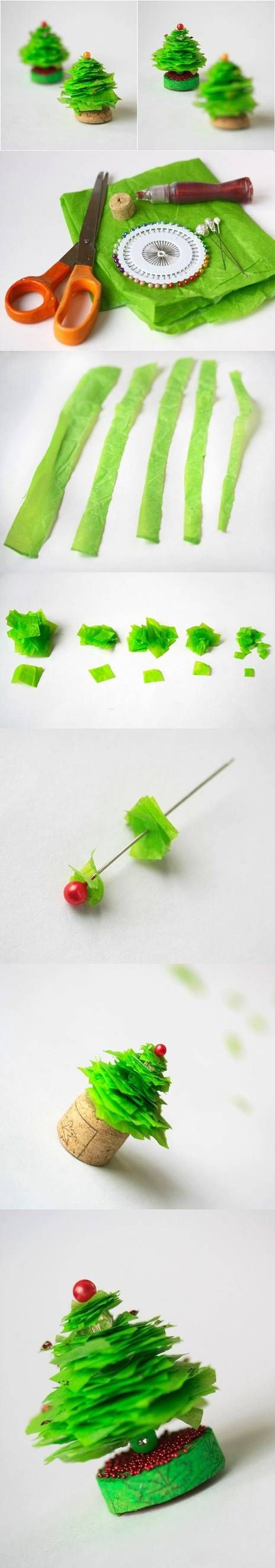 How to make Mini Christmas Tree step by step DIY tutorial instructions  for really tiny trees
