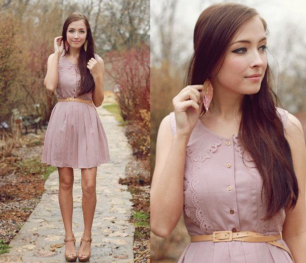 //: Summer Dresses, Feathers Earrings, Spring Dresses, Pink Dresses, Blushes Pink, Dusty Pink, Blushes Dresses, The Dresses, Super Cute Dresses